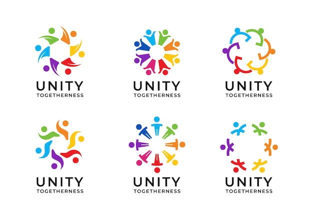 Les gens de l'unité, l'unité, le leadership, la collection de conception de logo d'entreprise de travail d'équipe