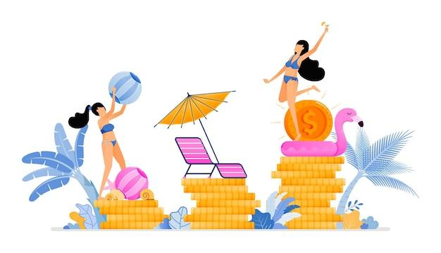 Les gens en vacances et améliorer l'économie du tourisme local