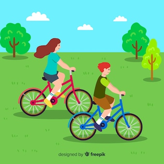 Les gens à vélo dans le parc