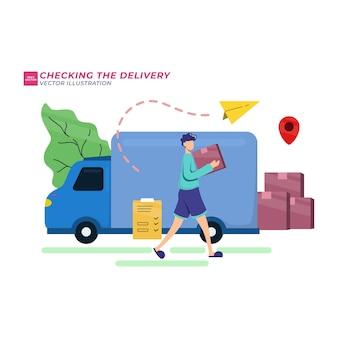Les gens vérifient le concept d'informations sur le service de livraison de colis.