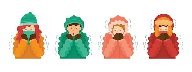 Les gens en vêtements d'hiver grelottant par temps froid