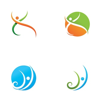 Gens, vie saine, logo, gabarit, vecteur, icône