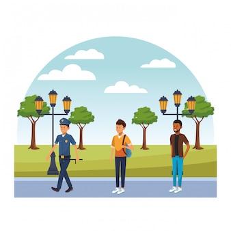 Gens de la ville marchant des dessins animés