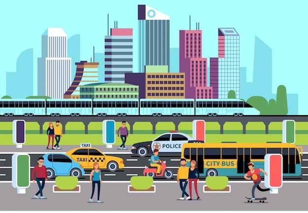 Les gens de la ville et les transports. voiture bus vélo moto et personnes. concept de transport, fond de ville