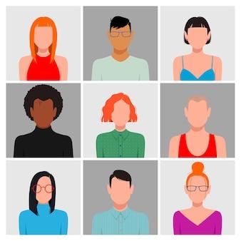 Les gens avec des visages vierges avatar ensemble. différentes couleurs de peau, cheveux et vêtements