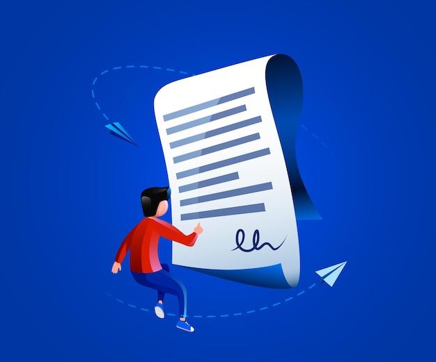 Les gens volent autour d'un accord ou d'un contrat de document de contrat papier