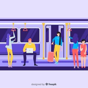 Les gens vont dans le métro