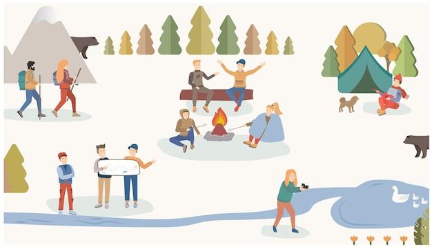 Les gens voyagent et font de la randonnée