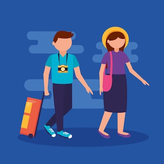 Les gens et voyager en style plat