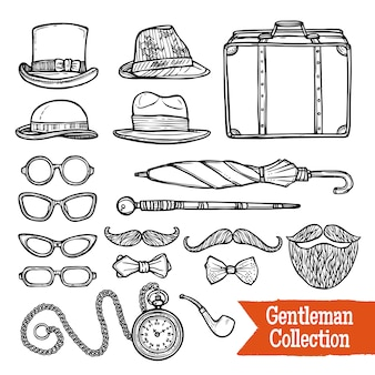 Gentelman vintage accessories doodle black set