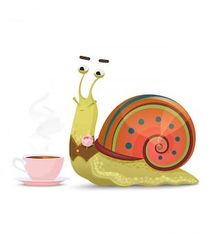 Gentil escargot gentleman assis avec une tasse de thé ou de café isolé