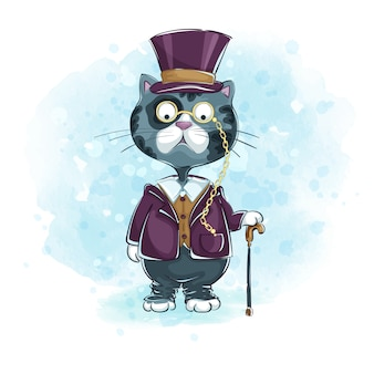 Gentilhomme chat gris coiffé d'un chapeau, pince-nez muni d'une canne.