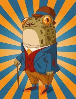 Un gentleman grenouille bien habillé dans un beau chapeau de veste et un bâton de marche