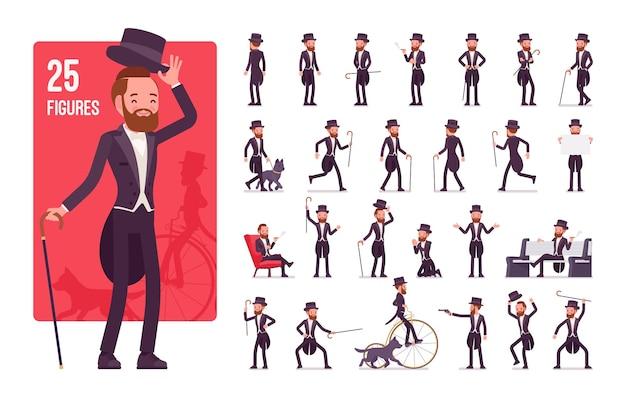Gentleman, jeu de caractères de veste de smoking noir