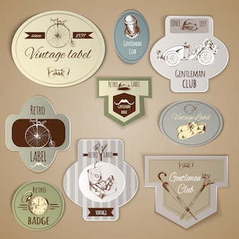 Gentleman labels set