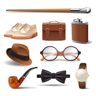 Gentleman réaliste accessoires décoratifs icônes définies