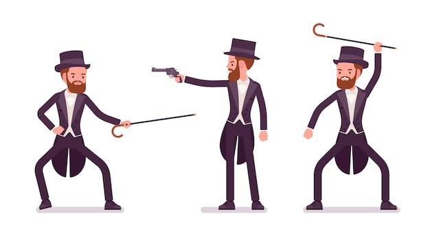 Gentleman en smoking noir pratique l'autodéfense bartitsu