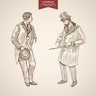Gentleman traditionnellement accessoire de vêtements portant des icônes de cravate de bâton de marche de chapeau de cylindre de manteau.