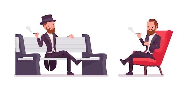 Gentleman en veste de smoking noir assis
