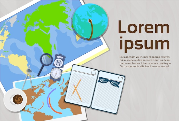 Géographie et cartographie concept top angle view of bannière de modèle de lieu de travail avec espace de copie