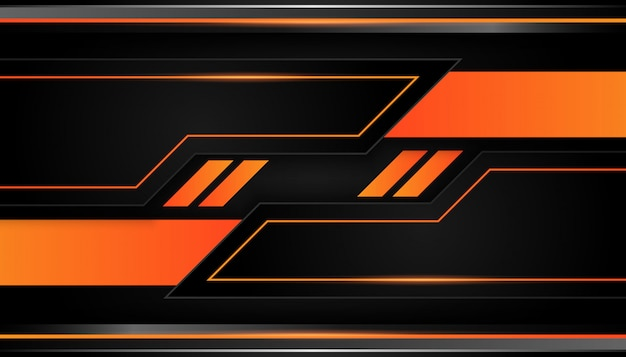 La géométrie 3d moderne forme des lignes noires avec des bordures orange sur fond sombre