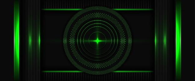 La géométrie 3d moderne forme des lignes noires avec un fond abstrait vert foncé avec une couche de chevauchement