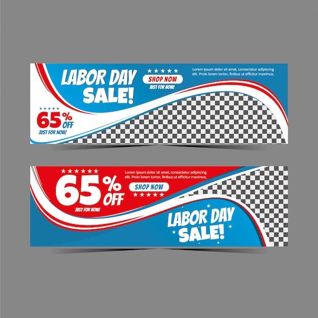 Géométrie moderne de bannière web de la fête du travail pour la vente au rabais, offre spéciale de bannière de vente flash