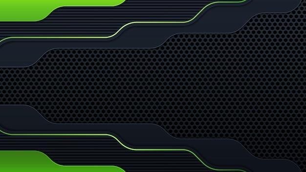 La géométrie moderne forme des lignes noires avec des bordures vertes sur fond sombre. lignes vertes lumineuses luxueuses avec effet métallique. illustration vectorielle