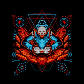 Géométrie sacrée du joueur de diamant rouge crâne