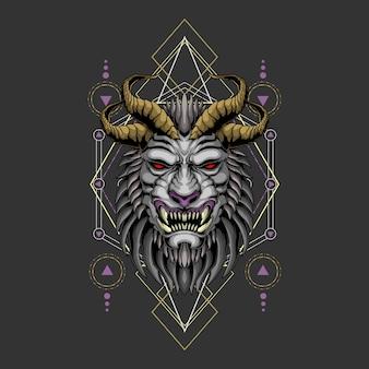Géométrie sacrée du lion noir