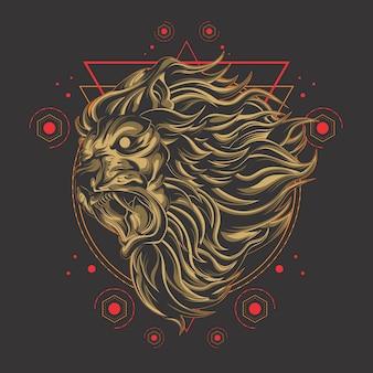 Géométrie sacrée lion puissant