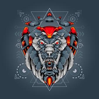 Géométrie sacrée robot tête de lion