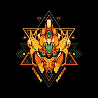 Géométrie sacrée roi robot doré
