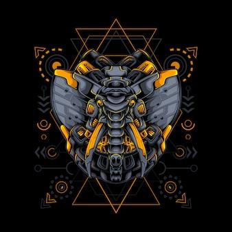 Géométrie sacrée de style cyborg robotique éléphant