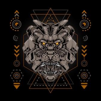 Géométrie sacrée de style cyborg tête de roi lion