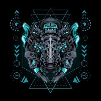 Géométrie sacrée de style rhino cyborg