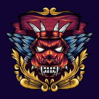 La géométrie de la tête du diable est une illustration d'une tête de diable avec des crocs acérés