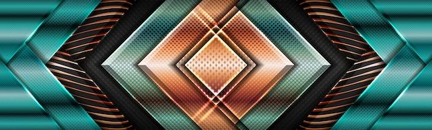Géométrique vert brillant moderne avec fond de couche texturée chevauchement doré