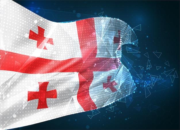 Géorgie, drapeau vectoriel, objet 3d abstrait virtuel à partir de polygones triangulaires sur fond bleu
