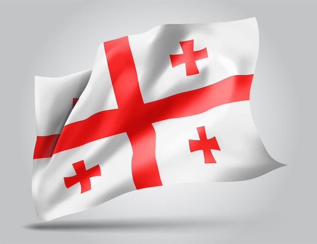 Géorgie, drapeau vectoriel avec des vagues et des virages ondulant dans le vent sur fond blanc.