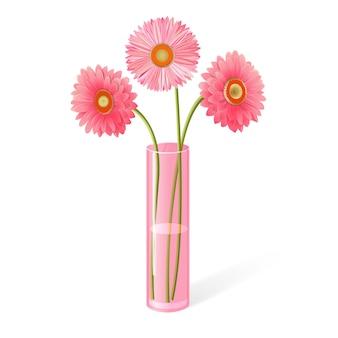 Gerberas roses dans un vase.