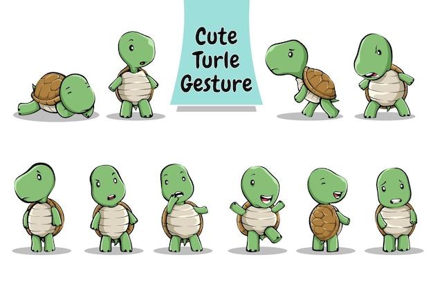 Geste et expression de personnage de tortue mignon
