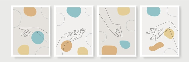 Geste de la main décoration murale de style boho. main minimaliste créative dessiner l'art abstrait. illustrations modernes. collection de style bohème