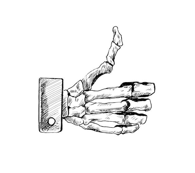 Le geste de la main du crâne frappe comme une illustration vectorielle de croquis dessinés à la main