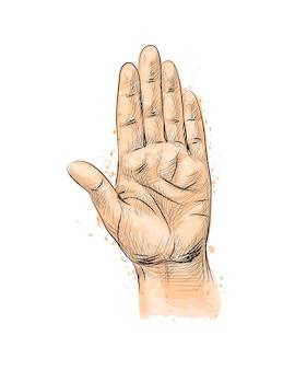 Geste de la main, faisant le geste d'arrêt d'une éclaboussure d'aquarelle, croquis dessiné à la main. illustration de peintures