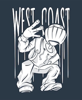 Geste de la main hip-hop west coast guy