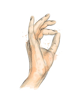 Geste de la main ok d'une éclaboussure d'aquarelle, croquis dessiné à la main. illustration de peintures