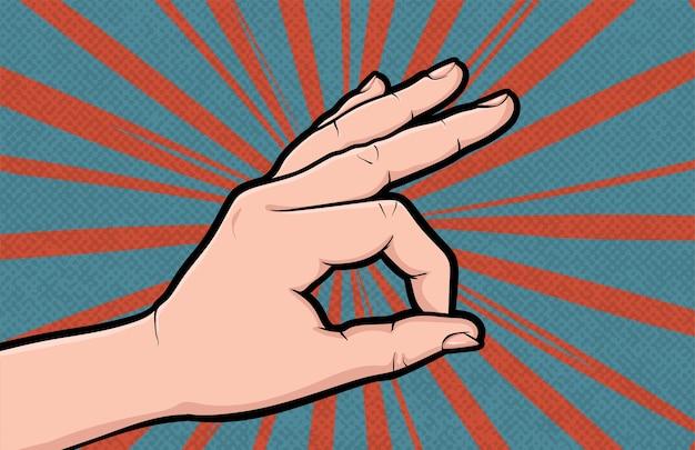 Geste de la main ok pop art de bande dessinée isolé. comme un geste positif.