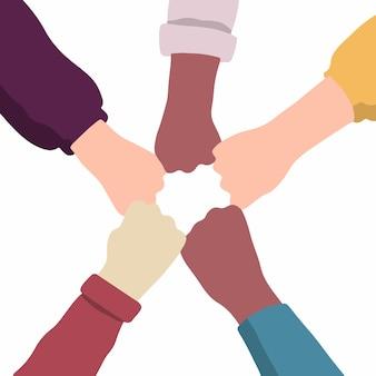 Geste de la main des personnes avec différentes couleurs de peau font des bosses de poing illustrations vectorielles à plat