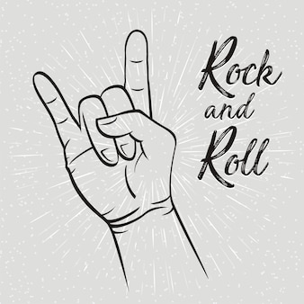 Geste de la main rock and roll